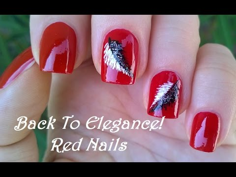 Elegant red nail art with black white feathers diy pretty elegant red nail art with black white feathers diy pretty nails prinsesfo Choice Image