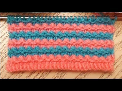 Вязание спицами двухцветный узор для следков