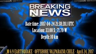 Repeat youtube video M 6.9 EARTHQUAKE - OFFSHORE VALPARAISO, CHILE - April 24, 2017