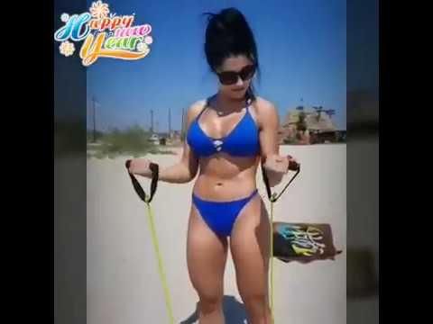 big boobs dance by hotgymgirls in bikini having fun on beach