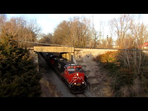 Overhead Shot of Canadian National Freight Train in Belle Rive, IL