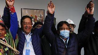 Luis Arce, el candidato del MAS, celebra su triunfo en Bolivia