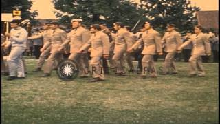 Athletes and army officers from various nations march prior to the 1972 Summer Ol...HD Stock Footage