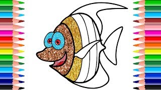 Sparkling Coloring Pages  | How to Draw Fish with SPARKLING Colors for Kids | LEARN COLORS