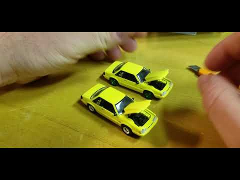 Greenlight ad cars hobby exclusive 1988 Ford Mustang notchback 5.0 opening review yellow Foxbody
