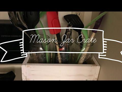 DIY Wooden Mason Jar Crate Farmhouse Style-Beginner woodworking