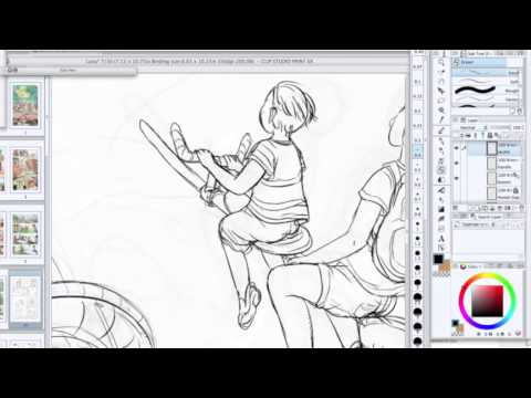 Speed Drawing // Comic Panel Inking