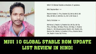 MIUI 10 GLOBAL STABLE ROM UPDATE LIST REVIEW IN HINDI!! Release date