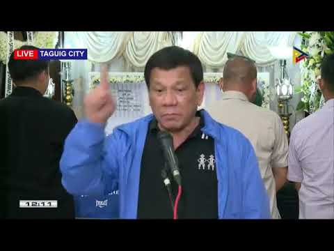 PRRD answers questions from the media after the wake visit to Cpt. Sandoval and PFC Canapi