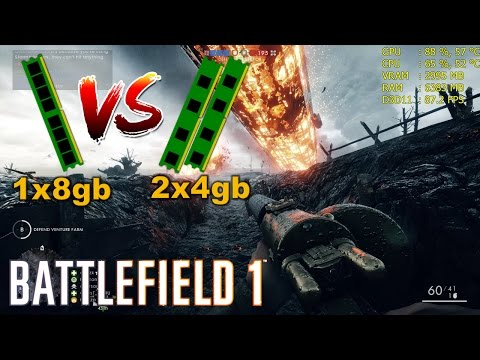 DUAL Channel VS SINGLE Channel [8GB] | Battlefield 1/ 1x8gb vs 2x4gb - RAM Test