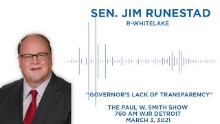 Sen. Runestad joins the Paul W. Smith Show to discuss Gov. Whitmer's lack of transparency
