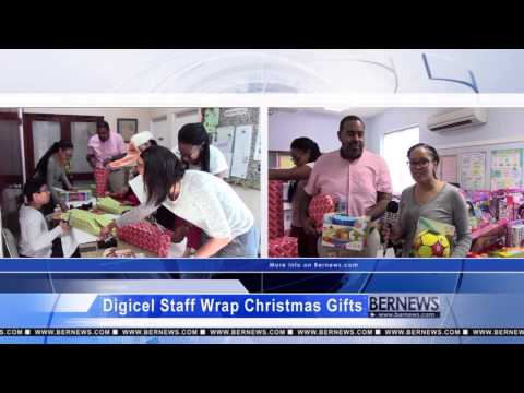 Digicel Staff Wrap Christmas Gifts, December 8 2014