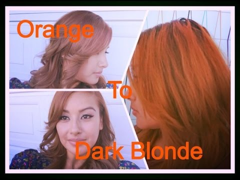 How I Dye My Hair From Orange to Dark Blonde  NoemiBeauti - YouTube