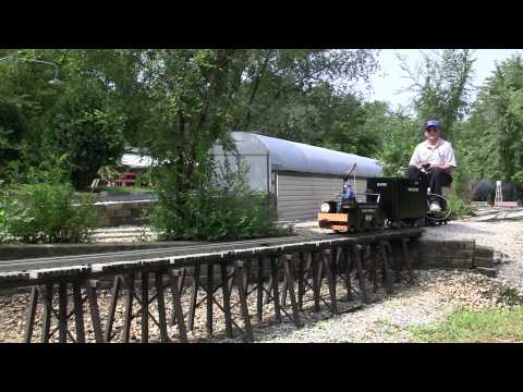Chicago Tunnel Co. 406 crosses the bridge at the Illinois Live Steamers