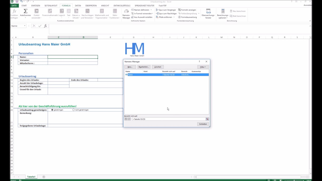 Youtube Video: Spreadsheet Router Tutorial: Bereiche definieren mit Excel Namensmanager