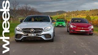 Mercedes-AMG E63 S v Tesla Model S P100D v HSV GTSR  | Wheels Australia