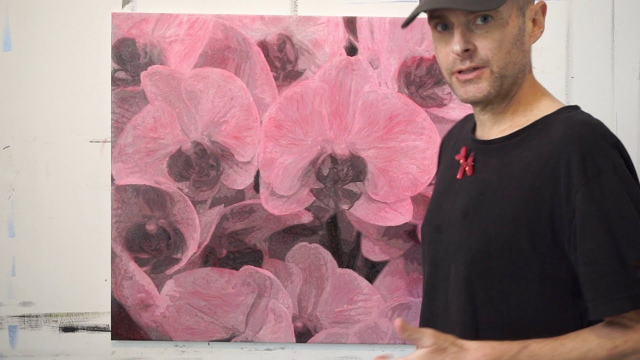 """Glazing a Grisaille Underpainting: """"Pink Orchids at Hampton Court"""""""