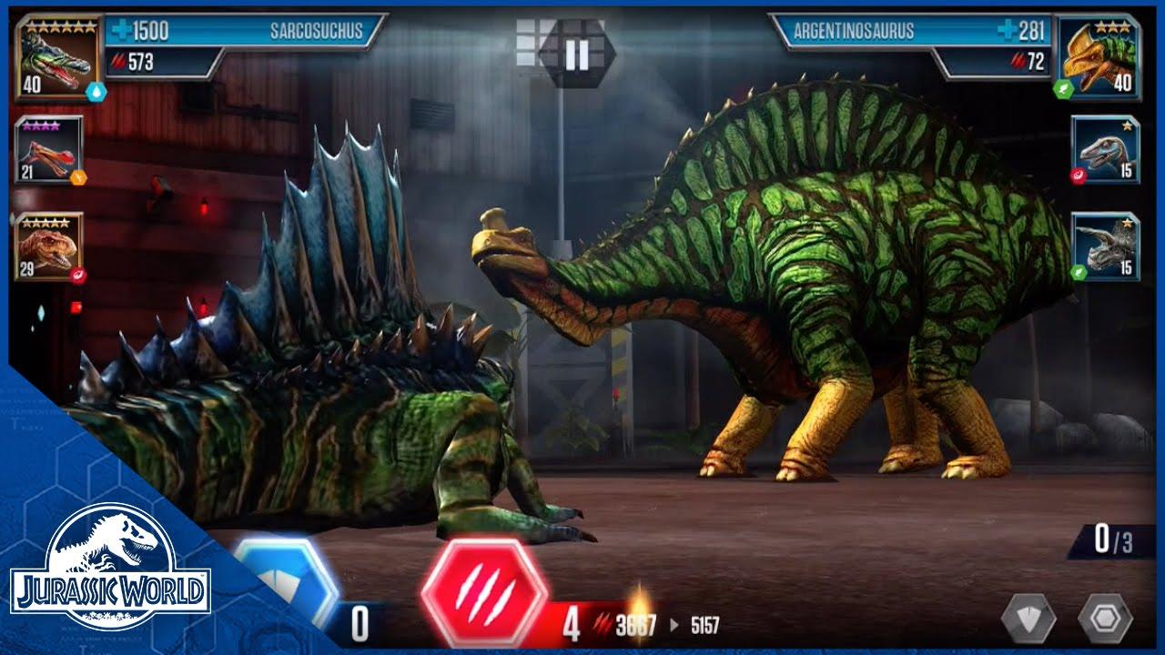 Battle Level 40 Sarcosuchus Vs Level 35 Argentinosaurus Youtube