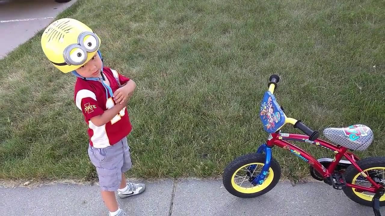 2f40cb05485 Tobin's First Bike Ride with His New Paw Patrol Bike Toys R Us ...