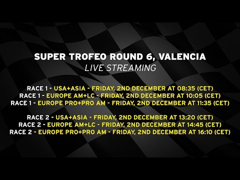 Lamborghini Super Trofeo Europe PRO+PRO AM 2016, Valencia - Live streaming Race 2