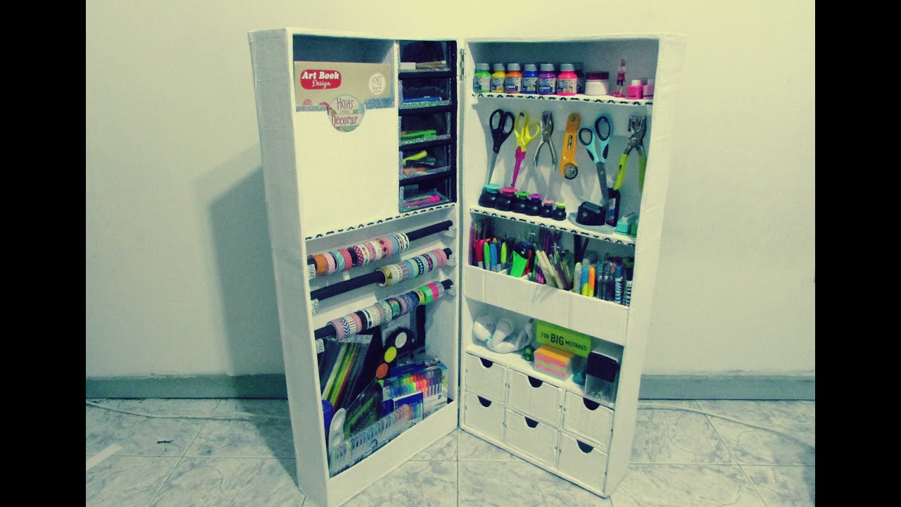 Mueble organizador de cart n organizador de cart o youtube for Manualidades de muebles