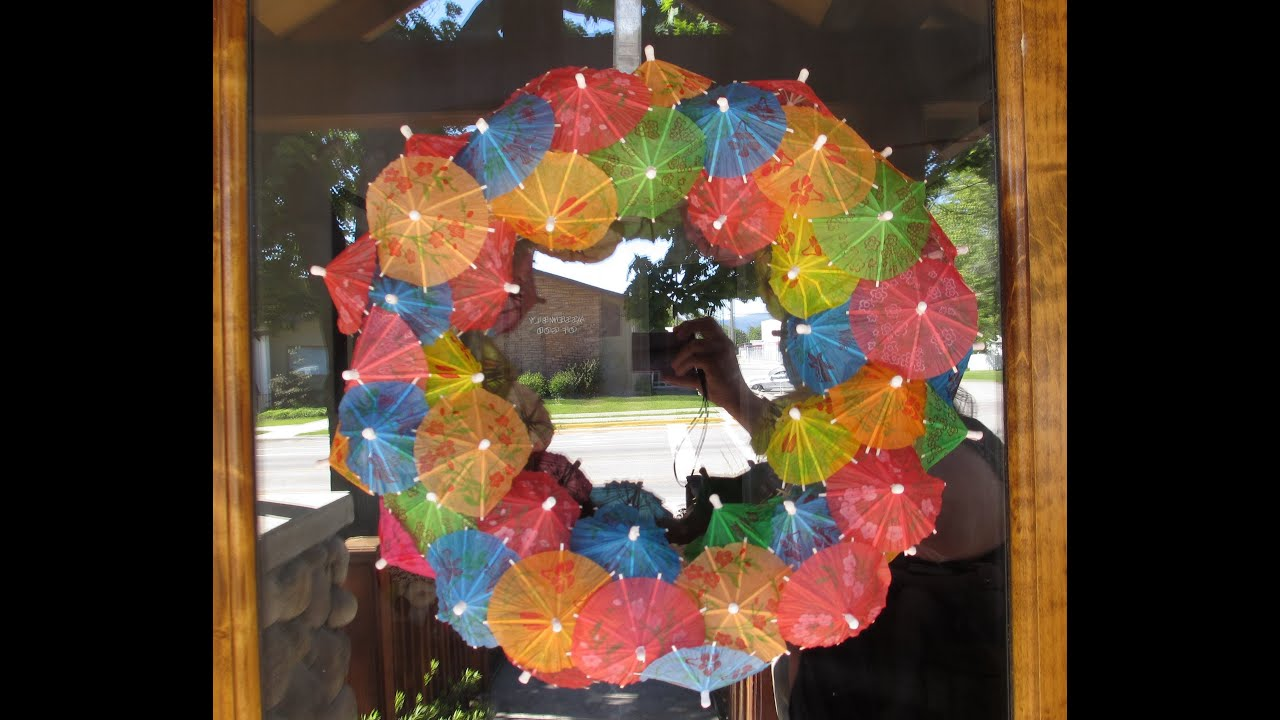 Diy Drink Umbrella Wreath Youtube