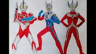 Ultraman Ribut Ultraman Zero Ultraman Ginga  coloring pages learning colors Ultra brothers family