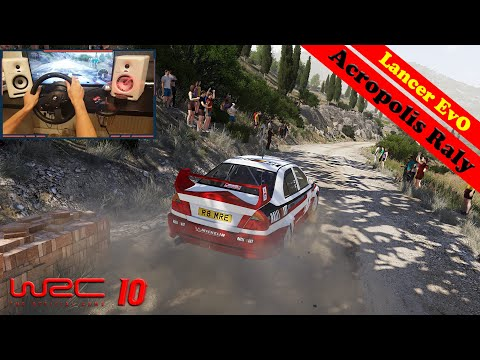 WRC 10 Gameplay | Acropolis Rally in Mitsubishi Lancer Evo TOP 10 - T300RS Steering Wheel + Shifter |