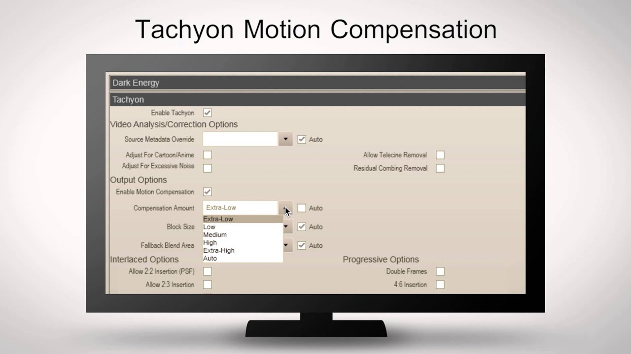 Motion Compensation Settings for Frame Rate Conversion- Frame ...