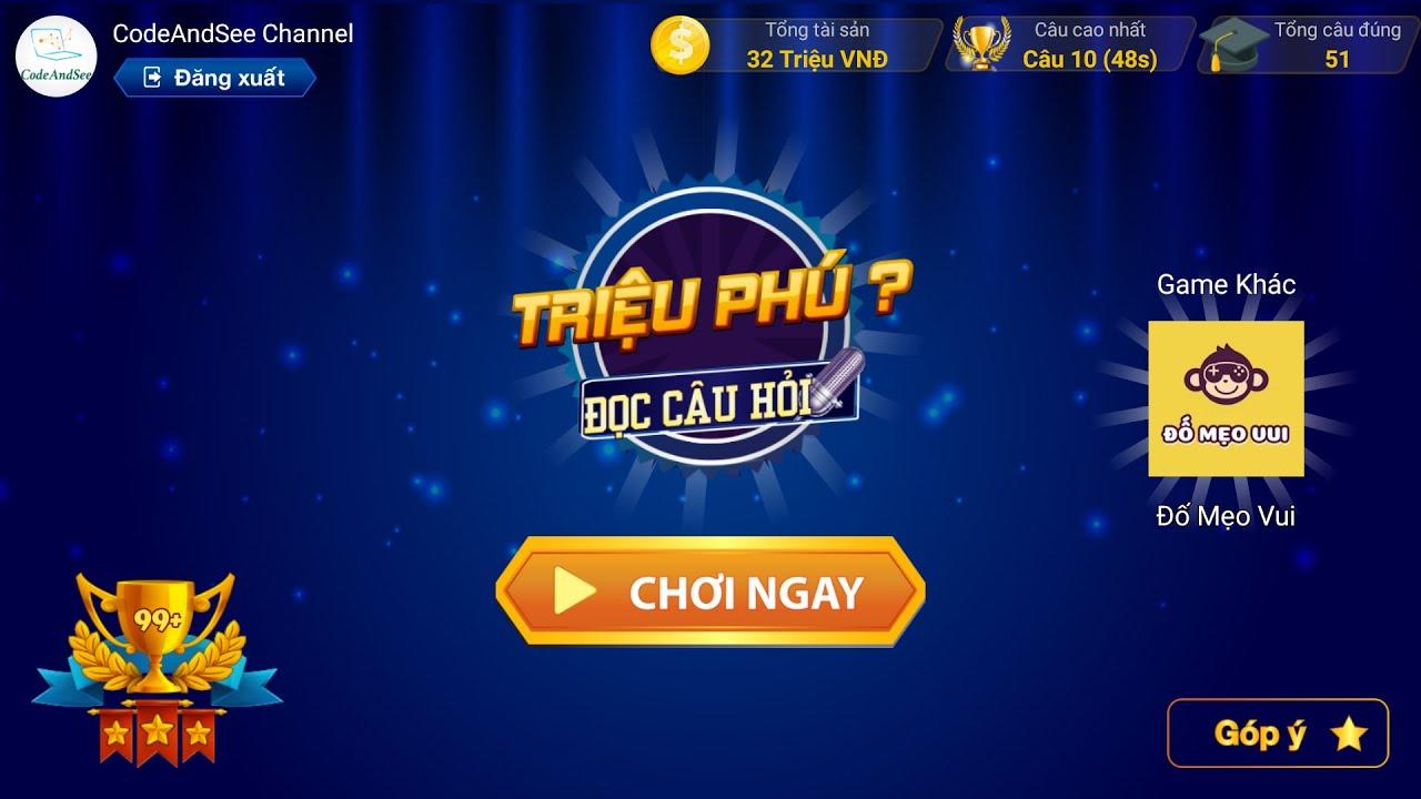 Trò chơi Ai Là Triệu Phú Đọc Câu Hỏi 2019 trên di động miễn phí