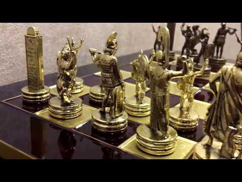 """Шахматный набор """"Греческая Мифология"""" красная доска 36x36, Manopoulos Chess Set S4C"""