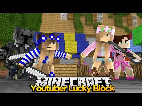 Minecraft Youtuber Lucky Block : POPULARMMOS vs GAMINGWITHJEN ! w/ Little Kelly & Little Carly!