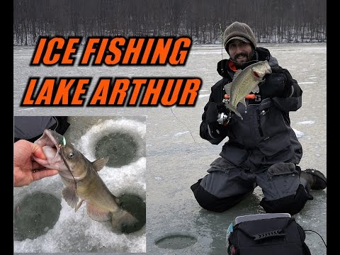 ICE FISHING Lake Arthur Early Season 2016 - Crappie Largemouth Bass Channel Catfish