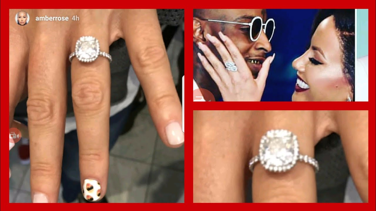Omg Amber Rose Engaged To 21 Salvage Flashes Diamond Ring On Ring
