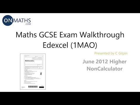 What maths topics are in the non-calculator GCSE paper?