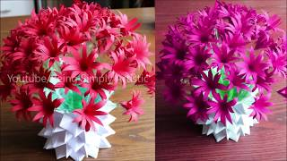 Plastic Bottle Flower Vase Craft - Paper Flowers - Home Decor Ideas
