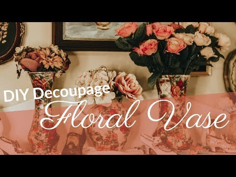 diy decoupage floral vase