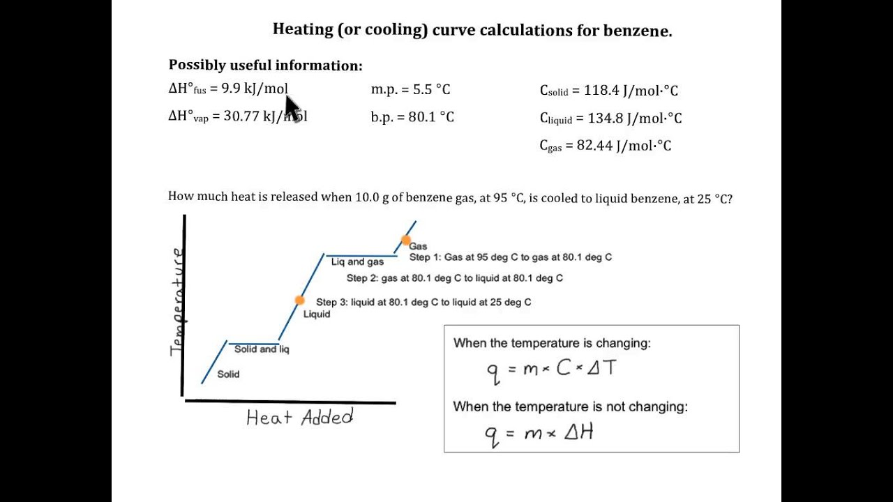Worksheets Heating Curve Worksheet Answers heating curve calculation benzene youtube