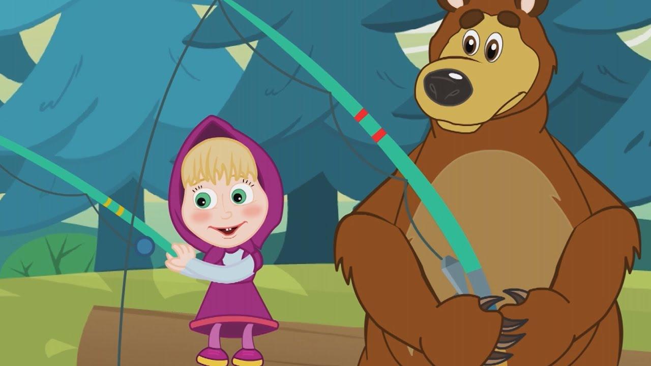 Cartoni animati episodio a pesca sul lago con orso