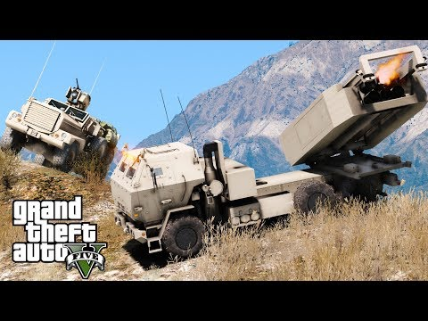 GTA 5 Military Patrol | US Marine Corps M142 HIMARS Artillery Unit Striking Enemy Base With Missiles