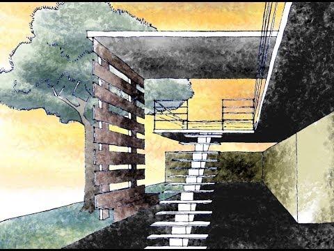 Como dibujar una escalera en perspectiva youtube for Como cubrir una escalera