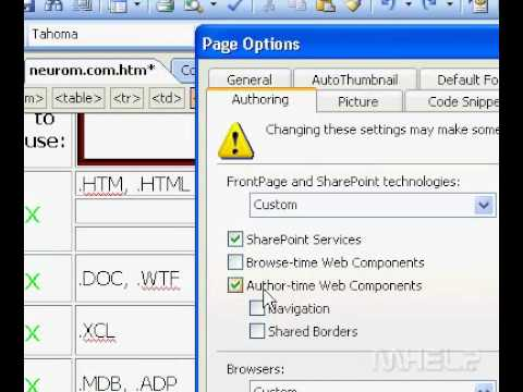 Microsoft Office FrontPage 2003 Turn Support For FrontPage Web Components On Or Off
