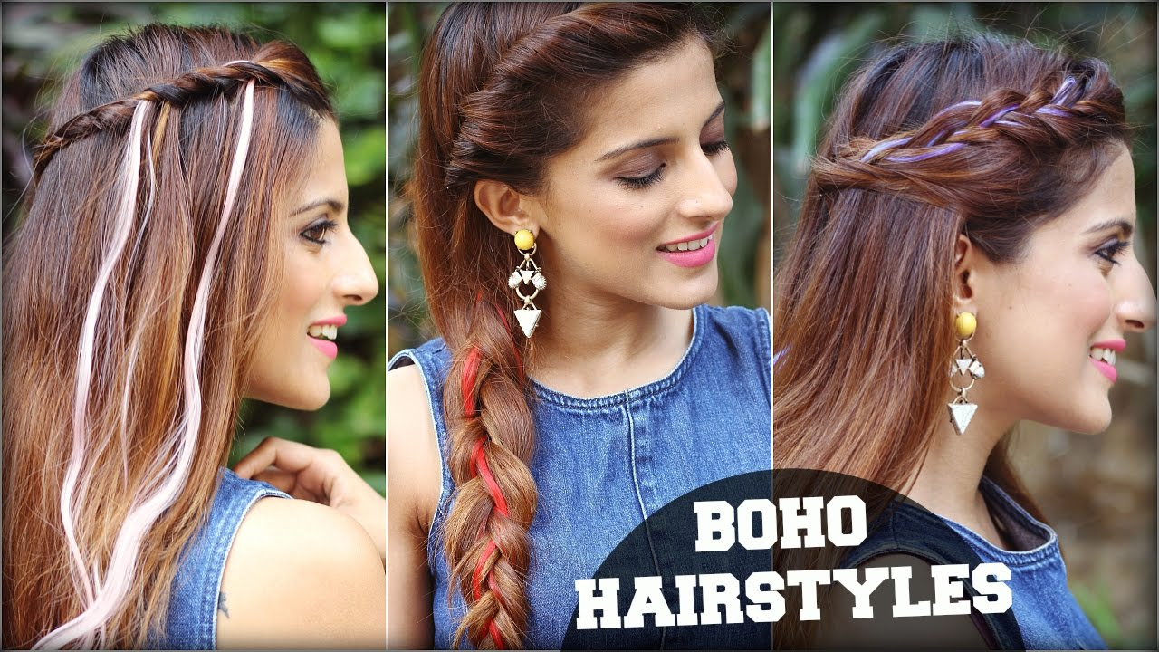 3 easy boho hairstyles for medium hair with clip in coloured hair 3 easy boho hairstyles for medium hair with clip in coloured hair extensions quick hair tutorial pmusecretfo Images