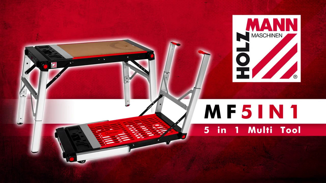 holzmann mf5in1 mobile werkbank 5 in 1 multifunktion youtube. Black Bedroom Furniture Sets. Home Design Ideas