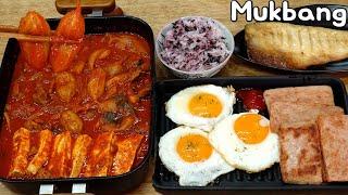 돼지김치짜글이와 계란후라이, 빽햄, 고등어 집밥 먹방 Mukbang