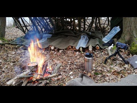 March| Bushcraft solo overnighter in natural shelter with wool blanket and dog