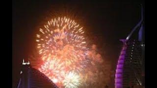 Dubai Silvester Fireworks over Palm Jumeirah, Burj Al Arab