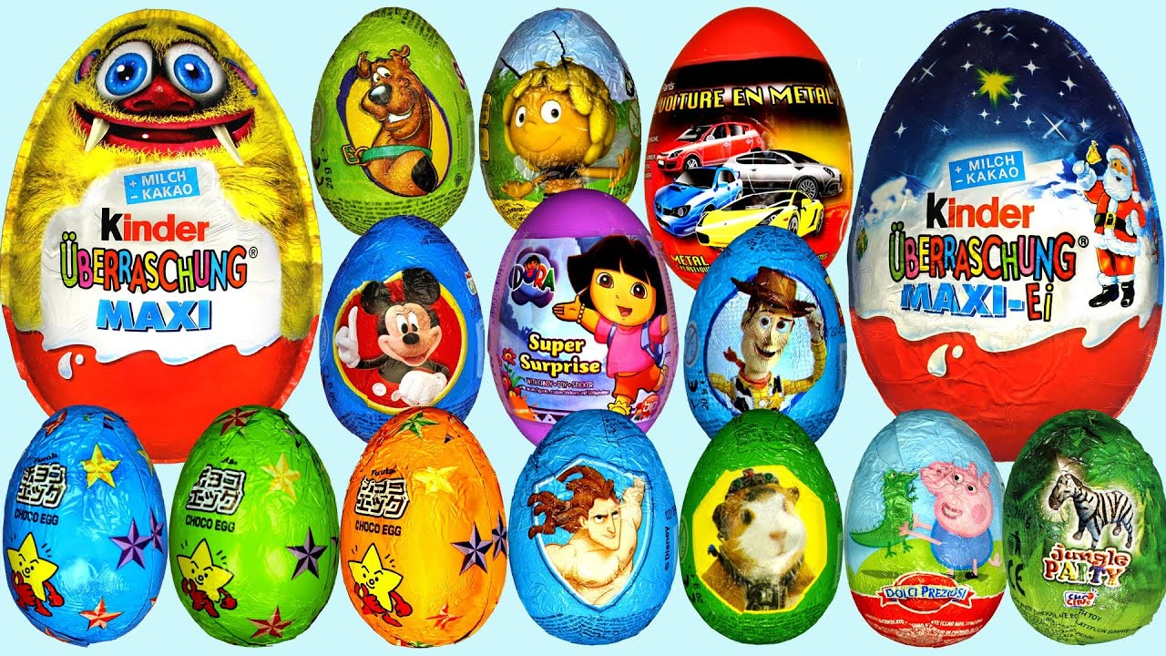 60 Surprise eggs Kinder Surprise Dora the Explorer Peppa Pig ...