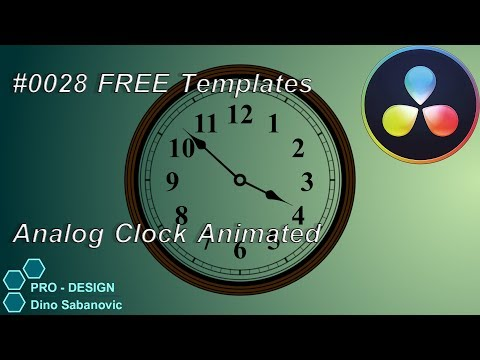 0028 Davinci Resolve FREE Templates for Fusion Analog Clock Animated