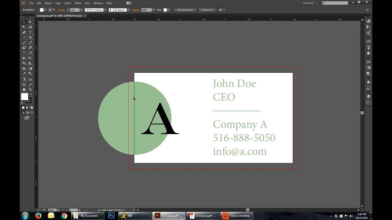 Setting up a Business Card with Bleed in Adobe Illustrator - YouTube